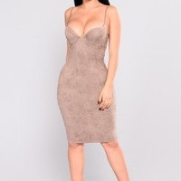 Ria Suede Dress - Taupe