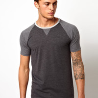 ASOS T-Shirt With Contrast Raglan Sleeves And Necktrim