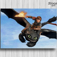 Toothless and Hiccup print how to train your dragon poster night fury decor