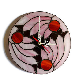 Abstract Wall Clock Pink Wings of Dreams, Unique Stained Glass Wall Decor with asian japanese motive, Decorative Handmade Art Clock, Round