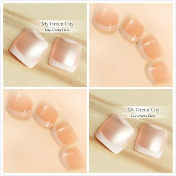 foreverlily 96pcs Popluar French Toe Nails 4sets False Full Design Oval Toenails Art Tips Gel Polish Tools