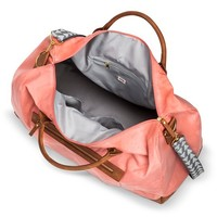 Women's Solid Canvas Weekender Handbag with Triangle Print Strap - Coral