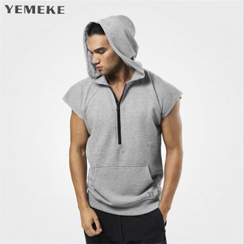 Men Bodybuilding Sleeveless Muscle Hoodies Workout Clothes Casual Cotton Hooded Black and grey