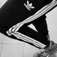"""Adidas"" Fashion Casual Embroidery Clover Letter Stripe Unisex Sweatpants Couple Leisure Pants Trousers"