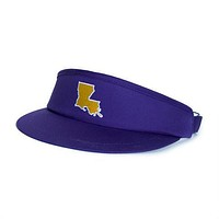 LA Baton Rouge Gameday Golf Visor in Purple by State Traditions