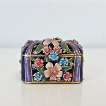 Vintage Ring Box Pill Box Trinket Box, Brass Enamel Flowers Small Box, Purple Pink Floral Ring Box, Shabby Chic Decor, Engagement Ring Box
