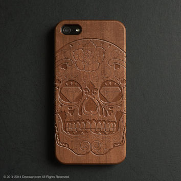Real wood engraved sugar skull pattern iPhone case S022