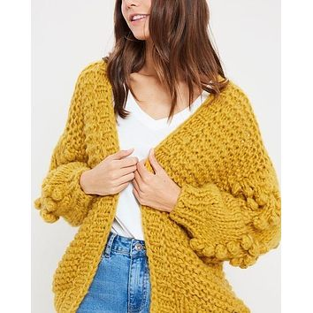 Heart On My Sleeves - handmade relaxed open knit knotted open front cardigan sweater - Mustard
