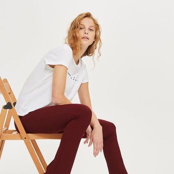 Skinny Rib Flared Trousers | Topshop