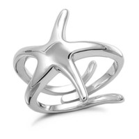 Sterling Silver High Polish Starfish Ring