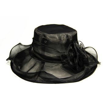 New Women Church Dress Organza Hat Wide Brim Flat Hat (Black)