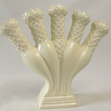 Wedgwood 5 Finger Cream Posy Vase, Mid Century Cottage Chic Home Decor, Gift for Her