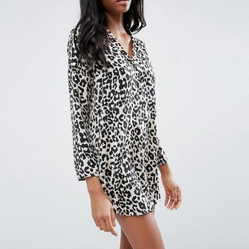 ASOS Satin Nightshirt in Natural Leopard Print at asos.com
