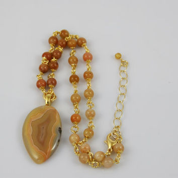 Laguna Agate Pendant Necklace on Beaded Strand of Yellow Jade Beads with Gold Bead Caps and Gold Rings