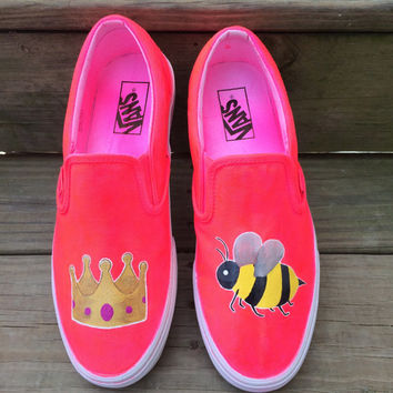 Queen Bee Crown Honeybee Emoji Custom Vans Shoes