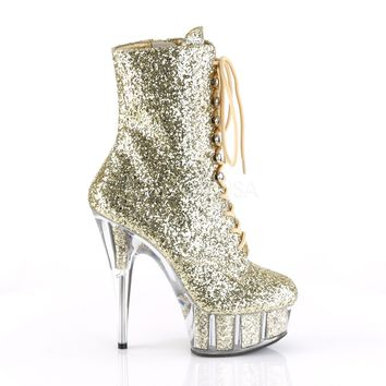 "Delight 1020G Gold Glitter Lace Up  6"" High Heel Ankle Boots"