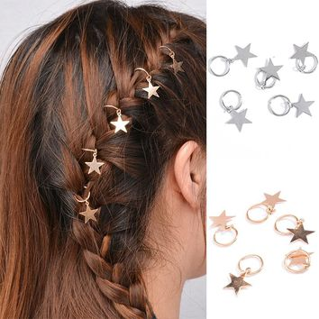 Sale Women Girl 10Styles Fashion Silvery/Golden Hairpin Compiled Shell Cross Alloy Rock Dreadlock Twist braid hair ornament Gift