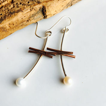 Sterling and Copper Earrings, Mixed Metal Earrings, Freshwater Pearl Earrings, Metalwork Earrings, Dangle Earrings, Drop Earrings, Etsy