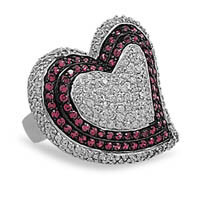Rhodium Plated Cubic Zirconia Heart Ring