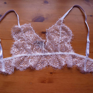 white eyelash lace bralette