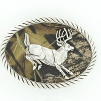 Nocona Mossy Oak Running Buck Camo Belt Buckle