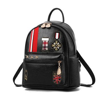 University College Backpack Small School Bags for Teenage Girls Mini Leather Women  with Red Kiss Letter Color Black  Wind Cute Female BagAT_63_4
