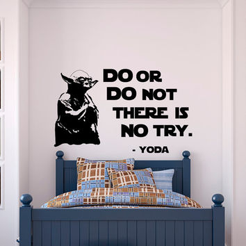 Star Wars Quotes Wall Decal Do Or Do Not There Is No Try Yoda Quote- Star Wars Nursery Kids Room Boys Bedroom Wall Art Home Decor Q214