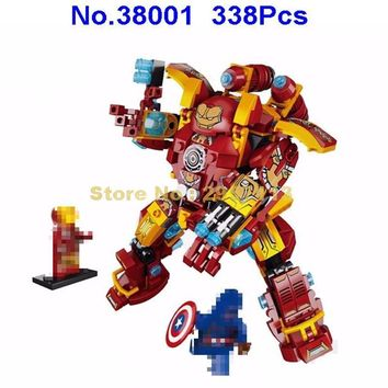38001 338pcs Super Heroes Iron Man Ironman Mech Lepin Building Block Brick Toy