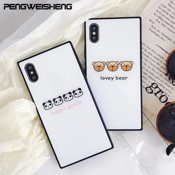 For iPhone X Case Bear Panda Tempered Glass Square Phone Case For iPhone 6 6s 6Plus 7 7Plus 8 8Plus Back Cover Caqa Funny Case