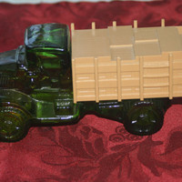 Vintage Big Mack Green Glass Truck, Vintage Avon Decanter Bottle, Man Cave Decor