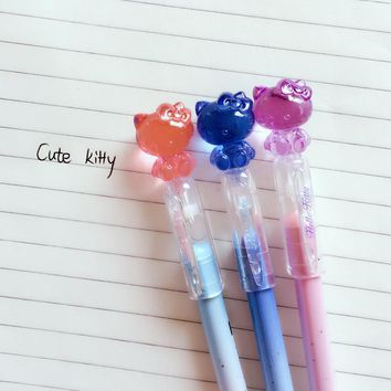 G58 3X Cute Kawaii Hello Kitty Crystal Cap Gel Pen Writing Signing Pen School Office Supply Student Stationery Prize Gift