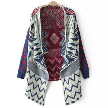 Blue Ethnic Turn-Down Collar Long Sleeves Geometric Cardigan