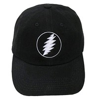 Grateful Dead Lightning Bolt Embroidered Baseball Hat in Black