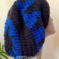 Black and Royal Blue Oversized Beanie | Adult Crochet Beanie | Slouchy Hat | Dreadlock Hat | Unisex | Bad Hair Day Hat