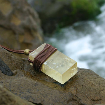 Golden Optical Calcite Leather Wrapped Chakra Necklace by Echoz Crystals