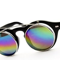W83-vp Round Clear Sunglasses (Rv Black/silver-mirrored Rainbow, Uv400)