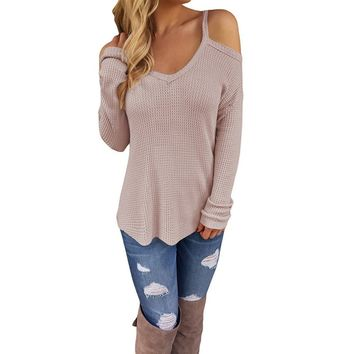 Women's Blue Off Shoulder Casual Knitted Sweater