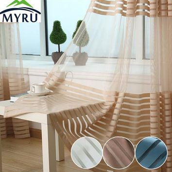 MYRU Fashion Striped Tulle Curtain Living Room Balcony Tulle Voile Curtain 4 Colors for Choosing Sheer Panel