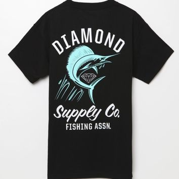 Diamond Supply Co Fishing Assn T-Shirt - Mens Tee - Black