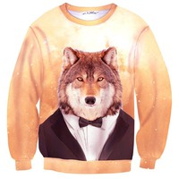 Wolf Dressed up in a Tuxedo Animal Portrait All Over Print Unisex Pullover Sweater