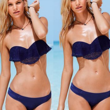 CUTE TWO PIECE STRAPLESS DARK BLUE LACE FALBALA BIKINIS SWIMWEAR