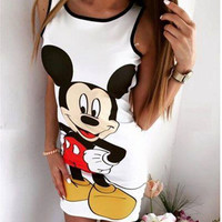 White Backless Zippered Mickey Mouse Print Dress