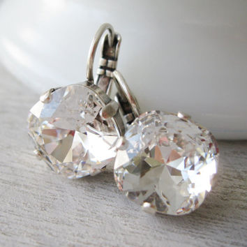 Crystal Bridesmaid Earrings, Antique Silver, Clear Wedding Jewellery, Bridal drop Earrings, Swarovski Elements, Lever backs