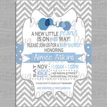 It's a Boy! Elephant A Little Peanut - Baby Shower Invitations - Personalized with 24hr turn-around. Printable 4x6 or 5x7 Image!