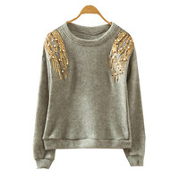 Grey Sequin Embroidered Sweatshirt