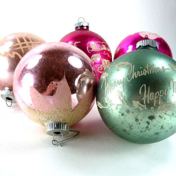 Large Shiny Brite Christmas Ornaments Set of 5 Pink and Green Mercury Glass