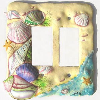 Light Switchplate Cover - Double Rocker Style - Hand Painted Metal Nautical Shell Design - Haitian Steel Drum Art - SR-1128 -2