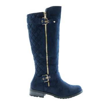 Mango23 Navy By Forever, calf high biker boots quilted panel stack heel threaded lug sole