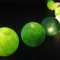 20 x green shaded handmade cotton ball lantern string light patio outdoor decorate deco room bedroom wedding patio party balcony furniture