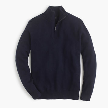 J.Crew Mens Softspun Half-Zip Shoulder-Patch Sweater